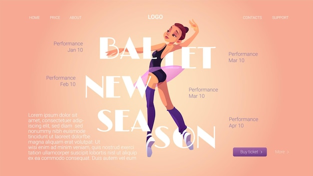 Página inicial da nova temporada do balé com bailarina e cronograma de apresentações