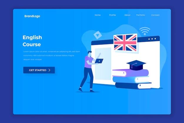 Página inicial da página de destino do curso de inglês