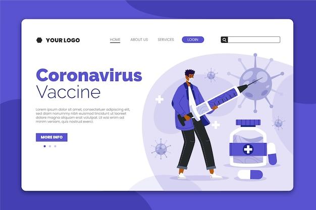 Página inicial da vacina contra o coronavírus com pessoa ilustrada