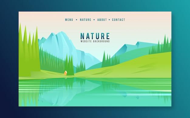 Página inicial da web com montanha e lago