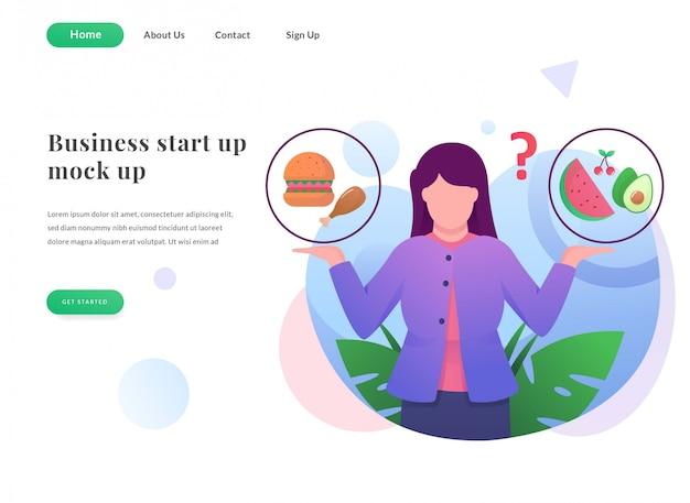 Página inicial da web de negócios alimentos saudáveis