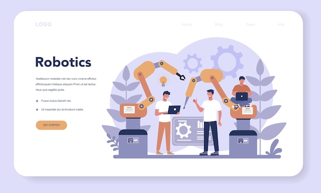 Página inicial da web de robótica. engenharia e programação de robôs. ideia de inteligência artificial e tecnologia futurista. automação de máquinas. ilustração em vetor isolada em estilo cartoon
