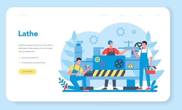 Página inicial da web de turner ou torno. operário de fábrica usando máquina de giro para fazer detalhes de metal. metalurgia e fabricação industrial. ilustração em vetor plana isolada