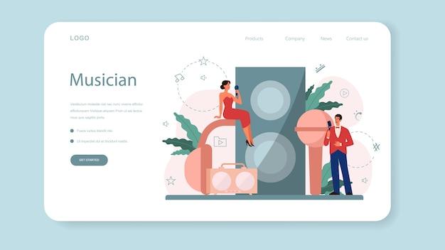 Página inicial da web do cantor feminino e masculino. artista cantando com microfone. show de música, desempenho de som. ilustração vetorial em estilo simples