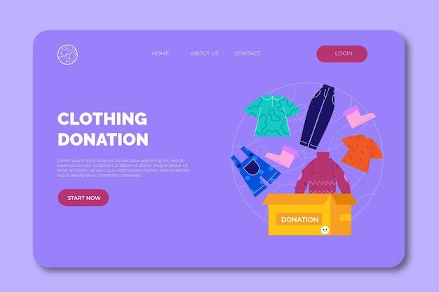 Página inicial da web para doação de roupas desenhadas à mão plana