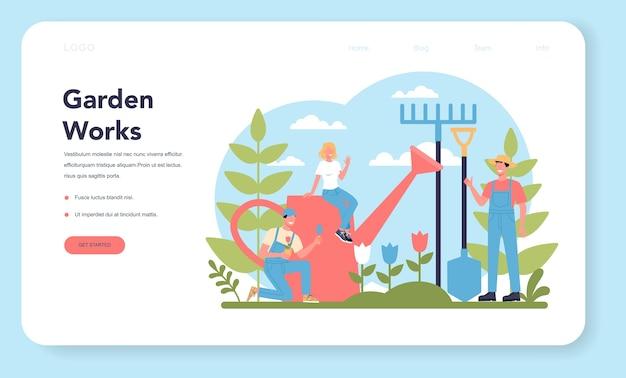 Página inicial da web sobre jardinagem. ideia de negócio de designer de horticultura. personagem plantando árvores e arbustos. ferramenta especial para trabalho, pá e vaso de flores, mangueira. ilustração plana isolada