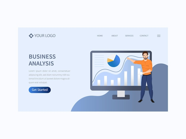 Página inicial de análise de negócios ou banner principal