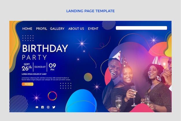 Página inicial de aniversário com gradiente colorido