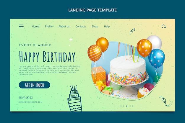 Página inicial de aniversário de textura gradiente