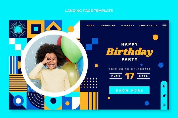 Página inicial de aniversário em mosaico de design plano