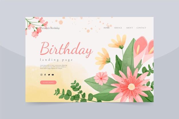 Página inicial de aniversário floral em aquarela