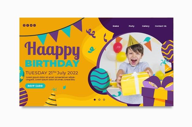 Página inicial de aniversário infantil