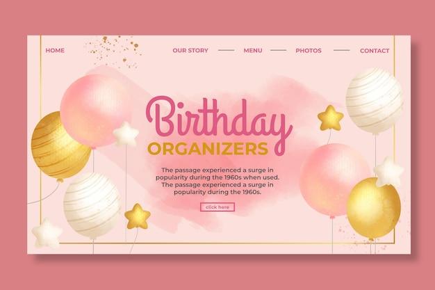 Página inicial de aniversário