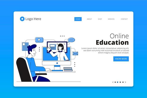 Página inicial de aprendizagem on-line plana e linear