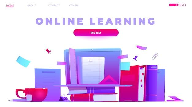 Página inicial de aprendizagem online detalhada