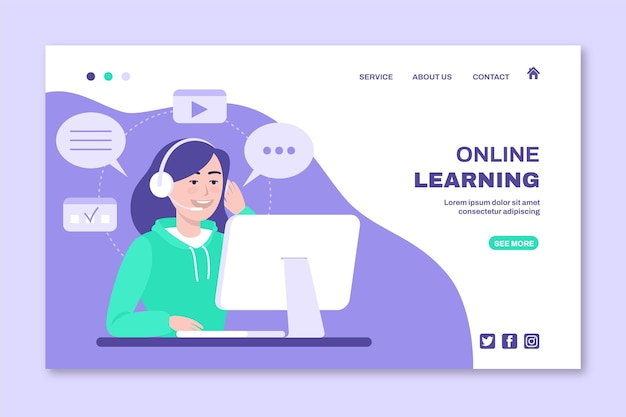 Página inicial de aprendizagem online plana