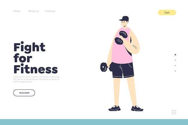 Página inicial de aptidão com homem treinando com halteres. estilo de vida saudável e conceito de treino. personagem de desenho animado masculino se exercitando