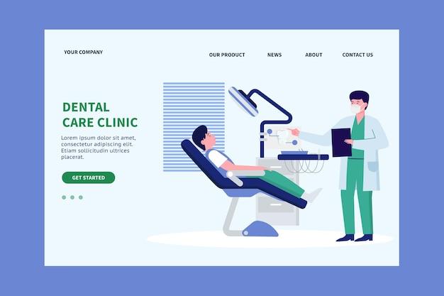 Página inicial de atendimento odontológico de design plano