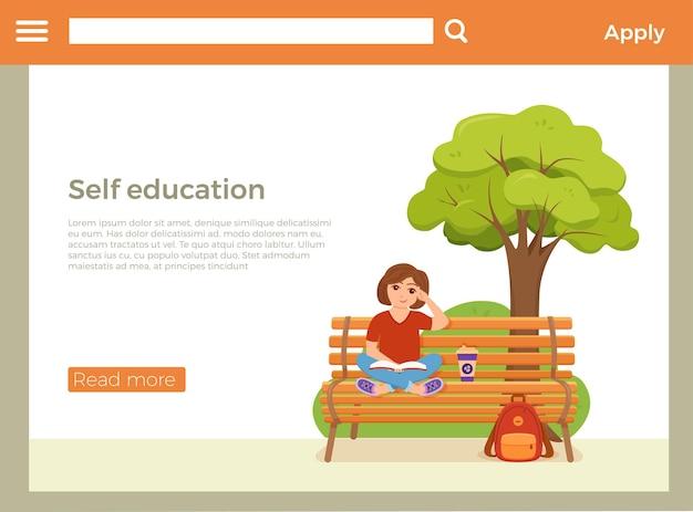 Página inicial de autoeducação com uma garota lendo um livro sentada em um banco no parque