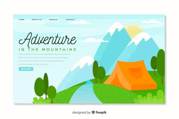 Página inicial de aventura com acampamento