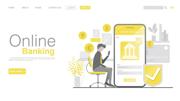 Página inicial de banco móvel e pagamento móvel em aplicativo móvel