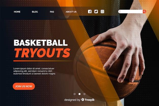 Página inicial de basquete com foto