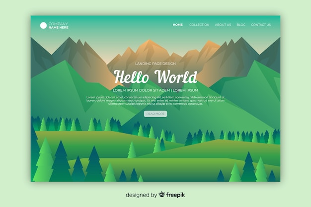 Página inicial de boas-vindas com paisagem gradiente verde