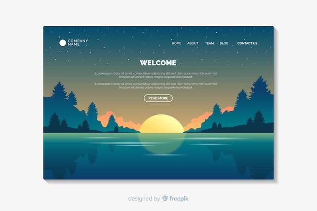 Página inicial de boas-vindas com paisagem gradiente