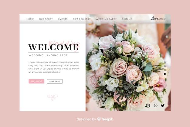 Página inicial de boas-vindas do casamento