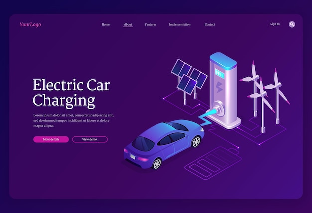 Página inicial de carregamento de carro elétrico