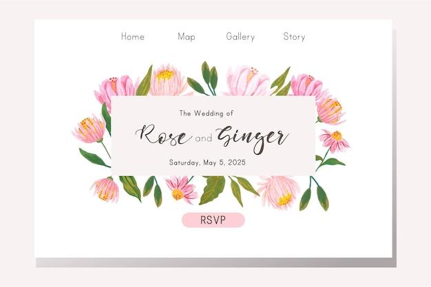 Página inicial de casamento com floral rosa