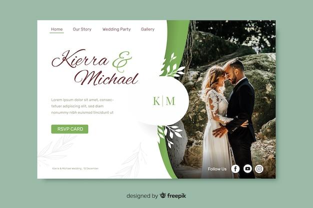 Página inicial de casamento com foto