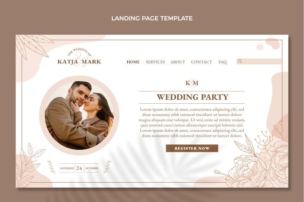 Página inicial de casamento desenhada à mão