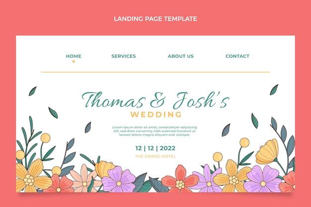Página inicial de casamento floral desenhada à mão
