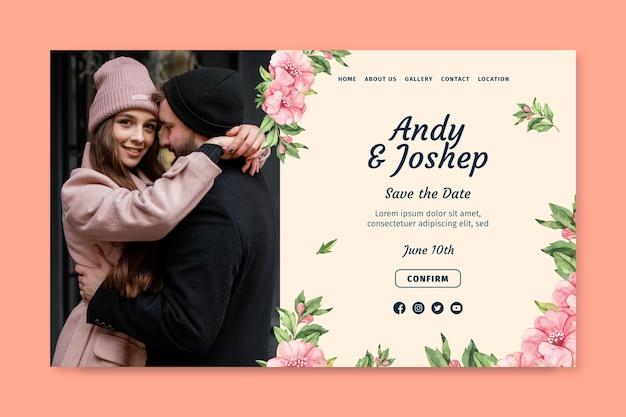 Página inicial de casamento floral
