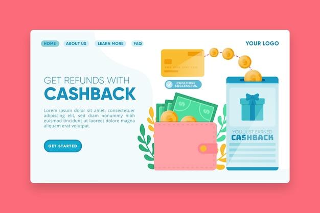 Página inicial de cashback para obter reembolsos