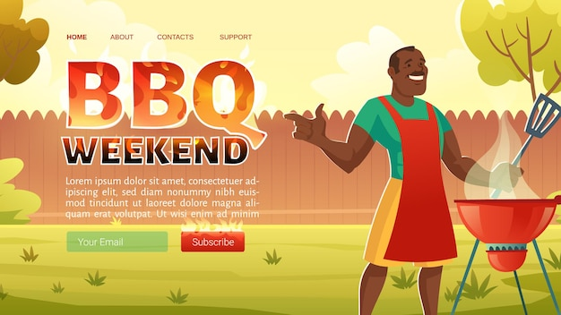 Página inicial de churrasco no fim de semana com um homem afro-americano de avental cozinhando na grelha