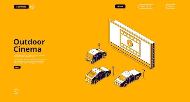Página inicial de cinema ao ar livre com ilustração isométrica de tela grande e automóveis