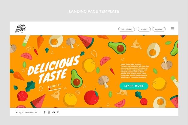 Página inicial de comida de design plano