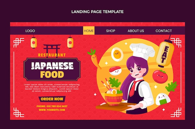 Página inicial de comida em estilo simples