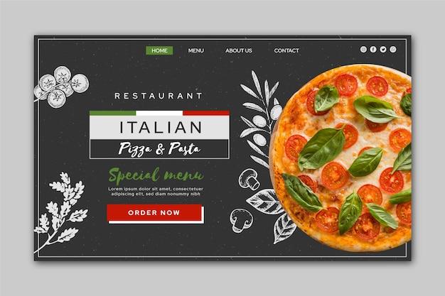 Página inicial de comida italiana Vetor grátis