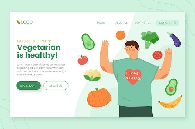 Página inicial de comida vegetariana desenhada à mão