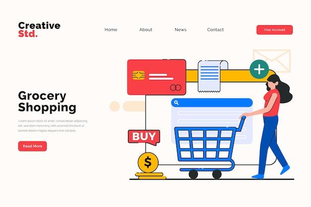 Página inicial de compras de supermercado on-line para o conceito do site