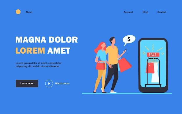 Página inicial de compras online de casal