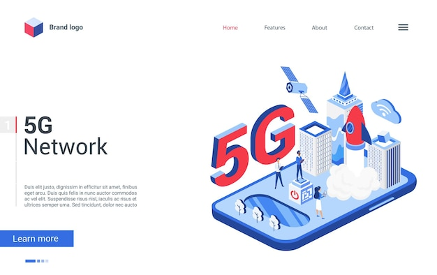 Página inicial de conceito moderno criativo, design com rede global de tecnologia 3d de desenhos animados de inovação de alta velocidade