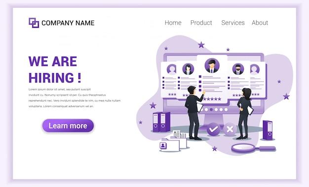 Página inicial de contratação e recrutamento