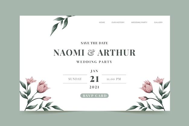 Página inicial de convite de casamento