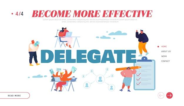 Página inicial de delegar responsabilidades