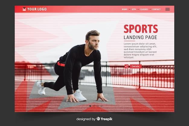 Página inicial de desporto com modelo de foto
