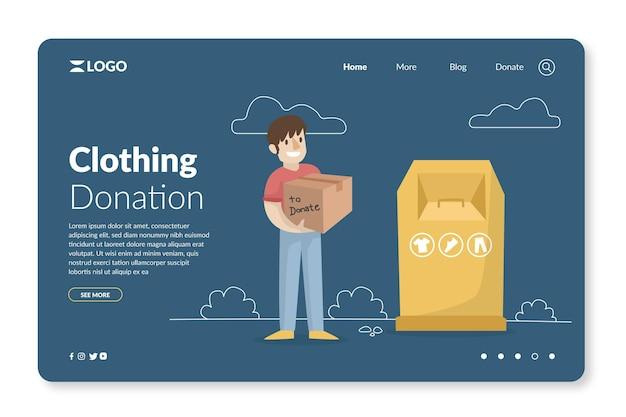 Página inicial de doação de roupas de design plano